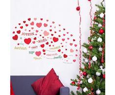 Wallflexi Adesivi da Parete Love con Francese e Italiano Citazioni di Natale Decorazioni di Natale Adesivi murali Soggiorno Bambini Scuola Materna Ristorante Hotel casa