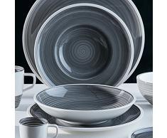 Villeroy & Boch Manufacture Gris Piatto di zuppa, Porcellana Premium, 25 cm, Grigio