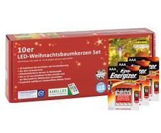 Idena 10112552b, candele led per albero di Natale, Set di 10, Multicolore, senza cavi, circa 9Â cm telecomando incluso e Energizer Premium Batterie alcaline, plastica,, avorio, 1.5Â x 1.5Â x 9Â cm