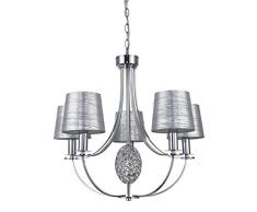 Interfan lampada a sospensione a 5Â luci argento