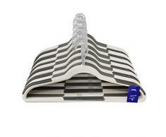 JVL Premium Range salvaspazio, grucce in plastica Antiscivolo, Confezione da 100, Colore: Grigio/Bianco, Taglia Unica