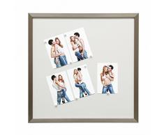 Deknudt Frames S41VD1-M-50.0X50.0 - Pannello Magnetico in Resina con 10 Calamite Bianche, 54,6 x 54,6 x 1,6 cm, Colore Argento