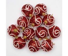 SHATCHI - 12 Palline di Natale da Appendere, in Morbida Schiuma Glitterata, infrangibile, Ornamenti per la tavola dellalbero di Natale, Rosso, 4 cm