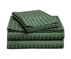 Superior - Set di lenzuola, 178 x 229 cm, da 4 pezzi, in cotone genuino a 300 fili, singolo capo, righe in raso, verde cacciatore