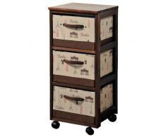 Kesper 14208Â Berlino Cestino portaoggetti con 3Â scatole legno multicolore 30Â x 30Â x 15Â cm