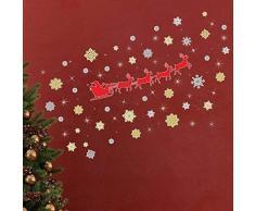 Wallflexi Renna di Natale Fiocchi di Neve con Piccoli Cristalli Swarovski Ufficio casa Decorazioni da Parete Adesivi, Multicolore, 38-Piece