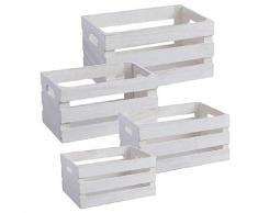 Dcasa - Set di 4 scatole in Legno, Ideali per Decorazioni Natalizie, Articoli per la casa, Unisex, per Adulti, Colore: Bianco (Bianco), Unico