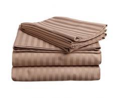 Superior - Set di lenzuola, 96 x 190 cm, da 3 pezzi, in cotone genuino a 300 fili, tasche profonde, singolo capo, righe in raso, grigio talpa
