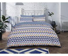 Sleepdown - Set di Biancheria da Letto Matrimoniale con Motivo Geometrico a Righe, in Misto Cotone, Colore: Blu