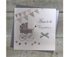WHITE COTTON CARDS e Culla bandierine Mum to Be Congratulations, Fatto a Mano