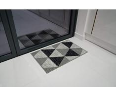Serdim Rugs Gelback Tappeto Antiscivolo dal Design Geometrico per Cucina e corridoi Multiuso – tappetini, Grigio, 120x160cm (4x53)