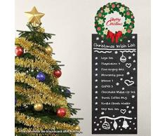 Wallflexi decorazioni di Natale adesivi murali Ghirlanda Wishlist Lavagna Adesivi Murali Soggiorno Bambini Scuola Materna ristorante hotel casa, multicolore