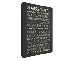 Feel Good Art BOYSRULES128-25CIT Ragazzi Spaccano Quadro su Tela da Muro in Moderno Stile Tipografico, Nero, 30 x 20 x 4cm