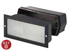 Velamp Brick Faretto segnapasso per Esterno: IP54. con Attacco per lampadine E27, Compatibile LED. Cassetta da Incasso Inclusa, Nero