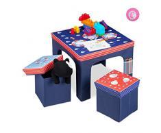 relaxdays Sedie da Bambino, Pieghevole, Tavolino, Sgabello con Contenitore Portaoggetti, Disponibili in Colore Blu, 48 x 59,5 x 59,5 cm