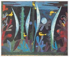 Artopweb Pannelli Decorativi Klee Paesaggio con Uccelli Gialli Quadro, Legno, Multicolore, 38x1.8x31 cm