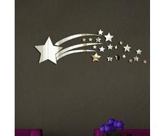 WALPLUS Set di specchi adesivi da parete, motivo tridimensionale a forma di stelle, colore argento
