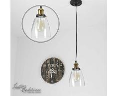 Lampadario a sospensione in vetro vintage retro lampada a sospensione Black Burn E27 fino a 40 W 230 V loft Edison lampada a sospensione, illuminazione per interni Lampada a sospensione soffitto soggiorno sala da pranzo cucina
