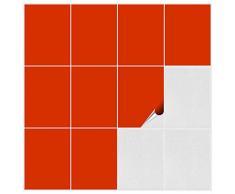 FoLIESEN Piastrelle adesive per Bagno e Cucina, 15x 20cm,Confezione da 150 Piastrelle adesive da Parete, Colore Rosso/Arancio Opaco