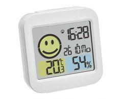 TFA Dostmann - Radiosveglia Digitale con termometro e igrometro, in plastica, 78 x 31 x 79 mm, Colore: Bianco