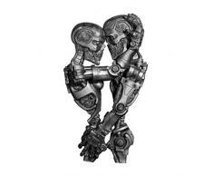Design Toscano CL6655 Scultura da Parete Amanti Steampunk Età delle Macchine, Argento Antico, 11.5x21.5x39.5 cm