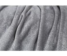 Kanguru Plaid GLITTER MOON coperta in soffice pile con paillettes argentate, dimensioni 130x170cm, calda ed elegante.