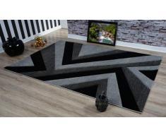 Serdim Rugs Ltd - Tappeto Moderno, Morbido, Intagliato a Mano, Design Geometrico Triangolare, Spessore 1,2 cm, Idrorepellente e Non stinge, Lavabile (Grigio Nero, 60 x 110 cm)