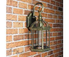 rustico lampada da parete VARSAVIA IN NERO-ORO E27 fino a 60W 230V IN ALUDRUCKGUSS & vetro lampada per esterni PARETE PER ESTERNI CORTILE GIARDINO LAMPADA DA PARETE LAMPADA CORTILE Lampade da giardino