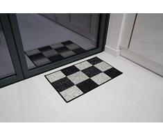 Serdim Rugs Gelback Tappeto Antiscivolo dal Design Geometrico per Cucina e corridoi Multiuso – tappetini, Nero-Quadrato, 67x120cm (22x311)