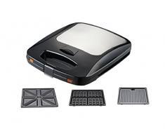 Ravanson OP-7050 3W1 - Barbecue elettrico multifunzione, tostapane e piastra per waffle