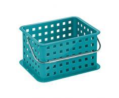 InterDesign Basic – Small Basket Piccolo cestino con maniglia | Contenitore plastica da impilare | Portaoggetti giochi, accessori bagno, cucina, ufficio | Plastica turchese