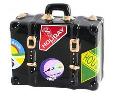 Home Suitcase Salvadanaio, Ceramica, Nero, 15x7x14 cm