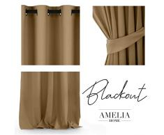 AmeliaHome Blackout - Tenda Oscurante in Poliestere, 140 x 245 cm, Colore: Giallo Senape
