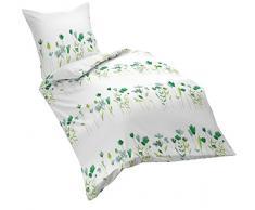 fleuresse 153570 Fb. 2 - Biancheria da letto in Seersucker, no stiro, 135 x 200 cm, colore: blu/verde