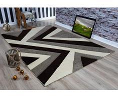 Serdim Rugs Ltd - Tappeto Moderno, Morbido, Intagliato a Mano, Design Geometrico Triangolare, Spessore 1,2 cm, Idrorepellente e Non stinge, Lavabile (Beige Marrone, 60 x 110 cm)