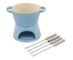 Tala Set fonduta con 4Â forchette in Acciaio Inox, Ceramica, Blue, 13.5 x 12 x 13.3 cm