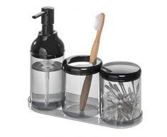 Portaspazzolino OnePine Set di 4 Accessori per Bagno Bicchiere per Lo Spazzolino con Dispenser per Sapone Ceramica Vassoio di bamb/ù