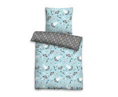 Biberna 0004646 - Set di biancheria da letto per bambini e ragazzi, con federa (cotone), 1 x 135 x 200 cm + 1 x 80 x 80 cm, colore: Blu ghiaccio