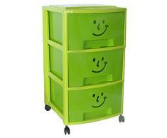 Mondex cassettiera con 3 cassetti e ruote, per bambini, in plastica, 39 x 37 x 67 cm, Plastica, verde, 67 CM