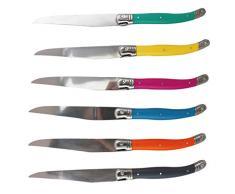 Fackelmann Set 6 Coltelli per Carne in Acciaio Inox, manicatura Colorata, quantità : 1 Confezione, Inossidabile, Multicolore, NC