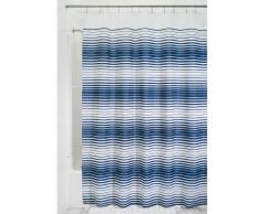 InterDesign Enzo Tende doccia tessuto idrorepellente, Tenda da doccia in poliestere con asole rinforzate e fantasia a strisce 180,0 cm x 200,0 cm, blu/bianco