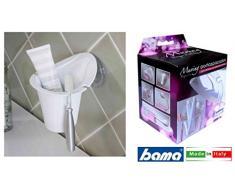 Bama Moving porta spazzolini (con Suctionhold), policarbonato, bianco, 12.2Â x 13.1Â x 12.8Â cm