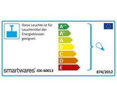 Lampada a Sospensione Smartwares IDE-60013, Argento, Metallo, Ø 4,2 cm – Max. 152 cm