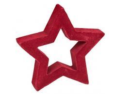 Unbekannt III Stella Rossa Floccata, ca. 14 x 14,5 x 2 cm, Decorazione per Natale, Avvento e in Inverno