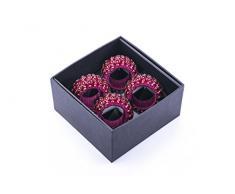 LegendArte Portatovaglioli Fatti a Mano Ring Beaded Pink - Set di 4 Pezzi