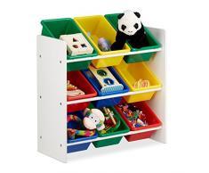 Relaxdays Scaffale per Bambini con Box Porta-Giochi, Contenitori Colorati per Giocattoli, Legno MDF, Multicolore, 68x65x31 cm