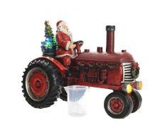 Kaemingk Trattore LED con Babbo Natale, Nero-Rosso