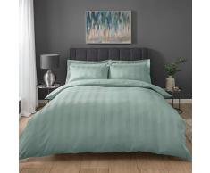 Sleepdown Stripe Waffle Duck Egg - Set di Biancheria da Letto Super King, in Policotone, Colore: Verde