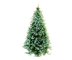 WeRChristmas Albero di Natale Pre-Illuminato, Punta Satinata, 165 cm, con luci a LED Bianche, Verde, 5.5 Feet