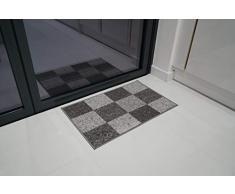 Serdim Rugs Gelback Tappeto Antiscivolo dal Design Geometrico per Cucina e corridoi Multiuso – tappetini, Grigio, 40 x 60 cm(14 x112)